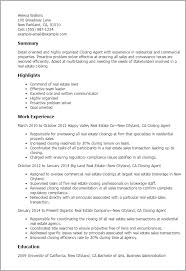 Property Agent Resume Closing Agent Resume Template Best Design Tips Myperfectresume