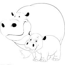 Hippopotamus Coloring Pages Hippopotamus Coloring Page Hippo Cute