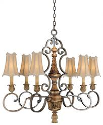 fabric shades shade habana night w gold highlights up chandelier