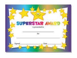 Kids Award Certificate Superstar Award Certificates Schools Teachers Kids 16 X A6