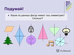 Презентация на тему Осевая и центральная симметрия Презентация  6 Подумай Какие из данных фигур имеют ось симметрии Сколько