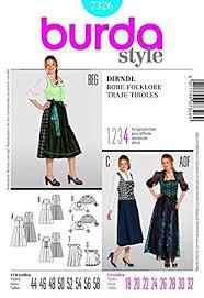 Dirndl Pattern Enchanting Amazon Burda Ladies Sewing Pattern 48 Dirndl Dress Sizes