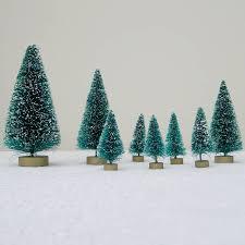 Eight Green Bottlebrush Christmas Trees