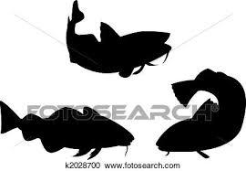 3 タラの魚 シルエット クリップアート切り張りイラスト絵画集