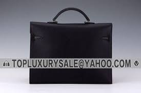low hermes kelly black leather briefcase small flip over flap silver buckle for womens
