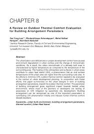 PDF) A Review on Outdoor Thermal Comfort Evaluation for Building ...