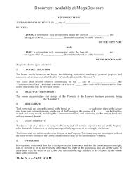 Equipment Lease Form Template Rental Equipment Lease Form Rental Simple One Page Agreement 20