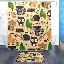 woodland animal rug cute woodland animal cartoon beige shower curtain and rug set waterproof polyester shower