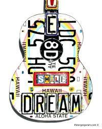 hawaiian metal wall art dreamer wall decor guitar art license plate art one of a kind hawaiian metal wall art
