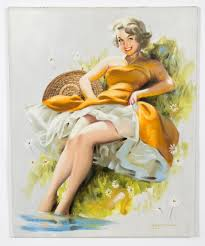 """Sold Price: Donald Rusty Rust """"Roberta"""" Pinup Oil Painting ..."""