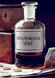 entrepreneurial spirit etched bottle vinegar and brown paper