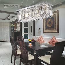 vallkin modern rectangular crystal chandelier dining room length multiple size led cyrstal pendant light