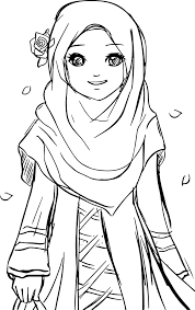 Cool Islamic Muslim Wears Hijab Girl Coloring Pages آموزشی In 2019