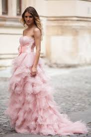 princess strapless lace up layered tulle a line pink wedding dress