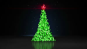 Animated Shiny Lights On Green Christmas Tree With Designer Snow ...