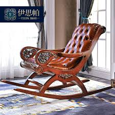 wood and leather rocking chair get quotations a pa luxury beech large cowhide leather rocking chair