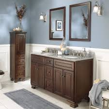 In Demand Brown Wooden Bathroom Furnishings Set Using Tall Dresser As Towel  Storage Also Brown 60 Inch Double Sink Vanity Feat Grey Bath Mat As  Decorate ...