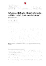 pdf performance and difficulties of students in formulating and solving quadratic equations with one unknown