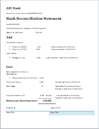 Bank Statement Reconciliation Form Bank Recon Statement Template