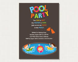 epic birthday party invitation to pool party pool party invitation epic birthday party invitation to pool party pool party invitation card template brown background and colorful title