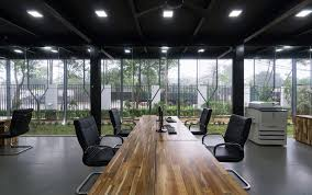 eco office. Large Wooden Table For The Modern Home Office Eco