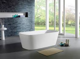 modern freestanding soaking bathtub high polish chrome pop up center drain included faucet is not included sold separately easy to clean non porous