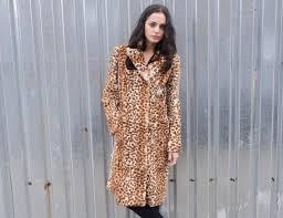 rabbit fur faux leopard vintage coat vintage rabbit coat size small leopard vintage coat