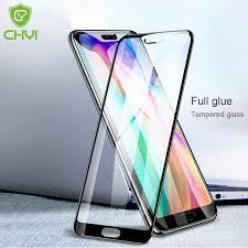 CHYI <b>Full glue cover glass</b> For huawei honor 10 screen protector 9H ...