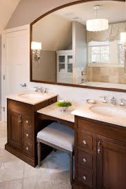 amazing double sink vanity with makeup table bathroom traditional regarding remodel