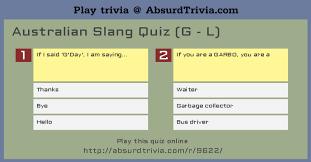australian slang quiz g l