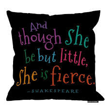 Hgod Designs Funny Though She Be But Little Quote Book Group Throw Pillow Square Cotton Linen Pillowcase Cover Cushion 18x18inch