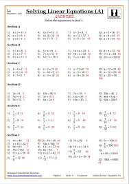 solving linear equations maths worksheet solving linear equations answer