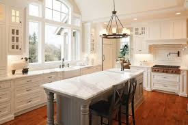 modern white kitchen with custom granite countetop and island in ancaster
