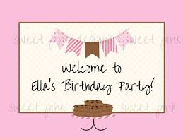 Printable Welcome Sign Pink Milk And Cookies Collection Pink