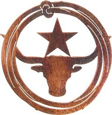 longhorn lasso with star metal wall art hanging 18 h x 17 1 2 w in westhered leather only on western metal wall artwork with lnglso18wwl longhorn lasso with star metal wall art hanging