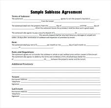 Sublease Form Rental Agreement Format – Evrika