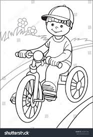 Small Picture Coloring Pages Boys Stock Vector Boy On Bicycle Boy In Cap Goes