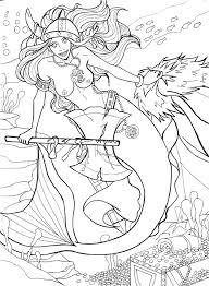 coloring coloring book mermaid woman sea fish