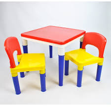 grace baby kids 2 in 1 block building multi coloured plastic table chair set