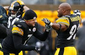 ben roethlisberger 7 wished former teammate james harrison 92 of the pittsburgh steelers well