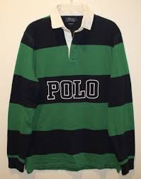 polo ralph lauren mens green navy blue striped rugby shirt nwt size l