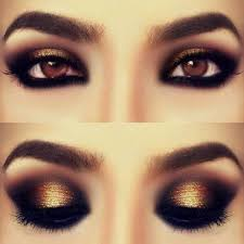 brown eyes with black smokey eye
