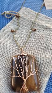 handmade tiger eye tree of life necklace