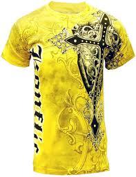 Yellow Designer Shirt Mens Konflic Nwt Mens Giant Cross Graphic Designer Mma Muscle T Shirt Yellow Xl Yellow