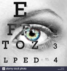 Eye With Test Vision Chart Close Up Stock Photo 52016917