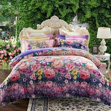 french country chic purple teal pink red yellow and dark blue garden flower print bright colorful full queen size bedding sets