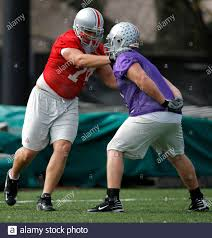 Ohio State University offensive tackle Kirk Barton works out with a member  of the scout team during practice in New Orleans, Louisiana, January 4,  2008. Ohio State University will play the Louisiana