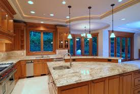 types of kitchen lighting. Designer Large Kitchen With Recessed Lighting, Pendant Lighting And Undercabinet Types Of