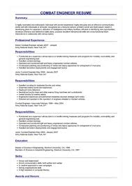 Army Resume Sample Combat Engineer Resume