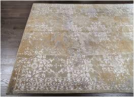 designer reserve gold hand knotted wool silk rug 19072
